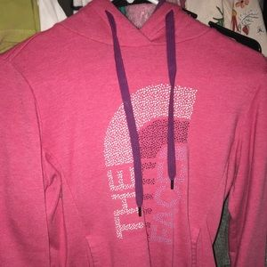 North face pink v neck sweater